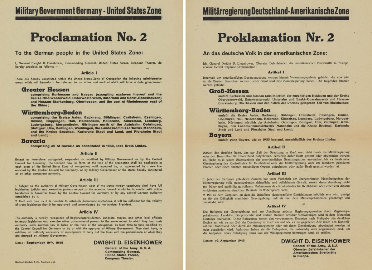 Die Proklamation Nr. 2 vom 19. September 1945